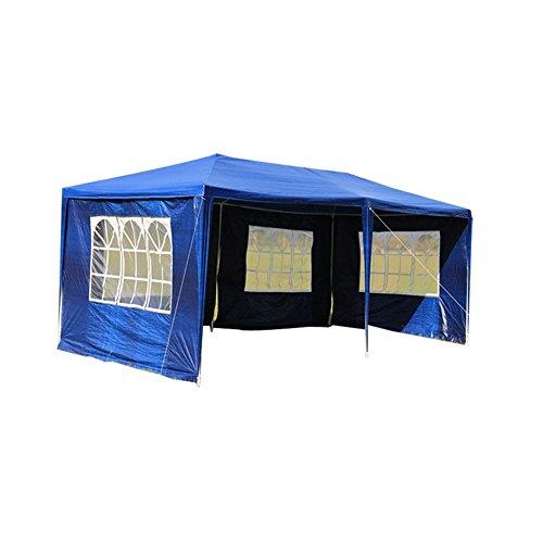MCTECH 6 x 3 m Gartenzelt Pavillon Bierzelt Partyzelt Festpavillon inklusive 4 Seitenwände 4 x Fenster Wasserdicht PE Plane in Blau 6 x 3 m mit 4 Seitenwände Blau