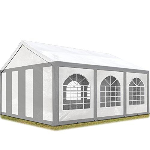 TOOLPORT Hochwertiges Partyzelt 3x6 m Pavillon Zelt 240gm² PE Plane Gartenzelt Festzelt Bierzelt Wasserdicht grau-weiß Modell 2018