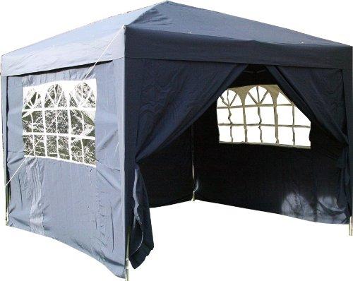 Airwave Pop-Up-Pavillon 3 x 3 m blau wasserfester GartenPavillon 2 Windstangen und 4 Gewichte für die Beine