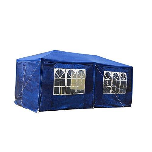 MCTECH 6 x 3 m Gartenzelt Pavillon Bierzelt Partyzelt Festpavillon inklusive 6 Seitenwände 4 x Fenster 2 x Tür mit Reisverschluss Wasserdicht PE Plane in Blau 6 x 3 m mit 6 Seitenwände Blau