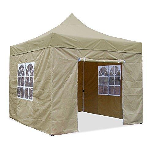 JOM Falt-Pavillon 3 x 3 m beige Profi Ausführung Material Oxford 420 D wasserdicht 4 Seitenwände Befestigung Seitenwände mit Reisverschluß