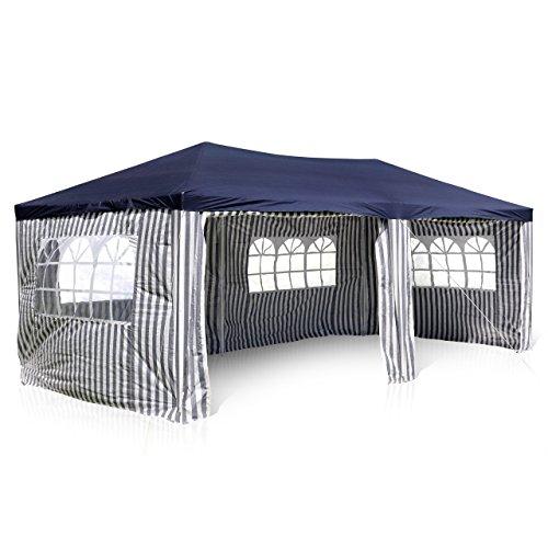 Nexos GM36077 PE-Pavillon Partyzelt mit 4 Seitenteilen und 2 Eingängen für Garten Terrasse Feier oder Fest als Unterstand Plane 110gm² wasserdicht 3 x 6 m blau