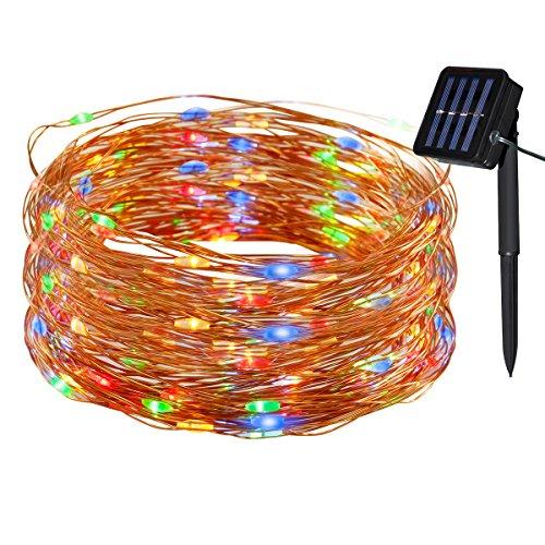 Yasolote Solar Lichterkette Außen LED Außenlichterkette Kupferdraht 20m 200 LED 8 Modi Beleuchtung für Garten Balkon Pavillon Terrasse Hof Zaun Hochzeit Fest Deko Vielfarbig 1 Stück