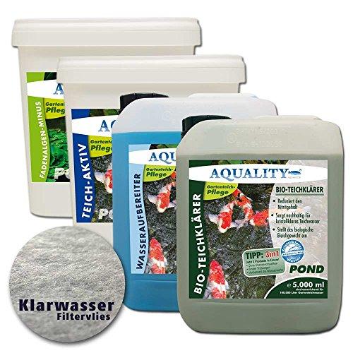 AQUALITY Komplettset Teichpflege-Set XXL GRATIS Lieferung innerhalb Deutschlands - Sparset für Ihren Gartenteich Wasseraufbereiter Teichklärer Teich-Aktiv Fadenalgenvernichter