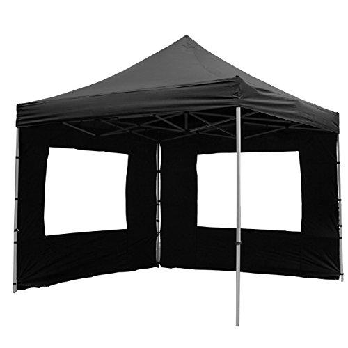 Nexos SM936147_SL Profi Faltpavillon 3x3 m mit 4 Seitenteilen schwarz