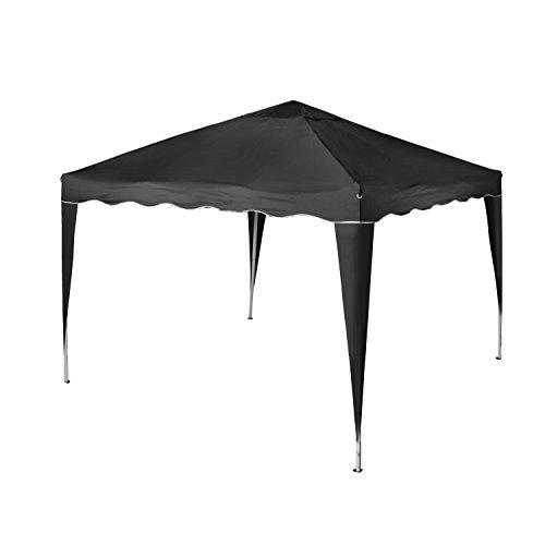 Vanage Pavillon Stella schwarz aus Aluminium ohne Seitenwände 300x300x260cm Faltpavillon einsetzbar als Gartenpavillon Party- und Festzelt Camping- und Festival-Zelt Gartenmöbel
