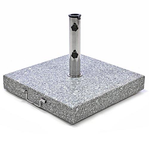 Nexos Sonnenschirmständer Schirmständer – mit Griff Transportrollen Reduzierhülsen – Edelstahl Granit eckig 50 x 50cm 50kg - schwarz weiß grau