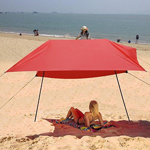 Acecoree Sonnenschutz Segel 3 x 3m Sonnensegel Strand Sonnendach Sonnenzelt Schattenspender für Garten Camping Strand Rot