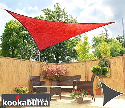 Kookaburra 42m x 42m x 60m Rechtwinkliges Dreieck Rot Atmungsaktives Party-Sonnensegel Strickgewebe 185g