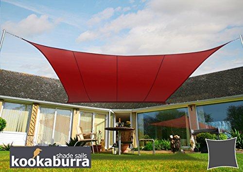 Kookaburra Wasserfest Sonnensegel 54m Quadrat Weinrot