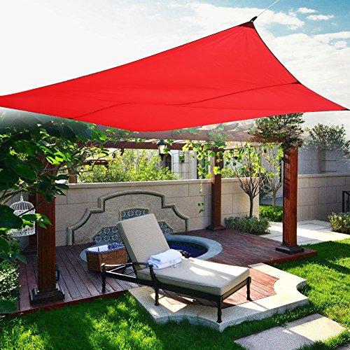 Zerone sonnensegel wasserdichtSonnen Segel Sonnenschutz Schattensegel Sonnendach Windschutz Polyester Nylon 4x3m(Rot)