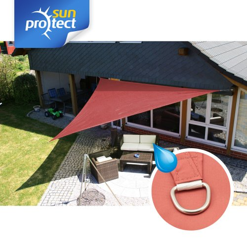 sunprotect 83287 Waterproof Sonnensegel 5 x 5 x 7 m 90° Grad Dreieck rot