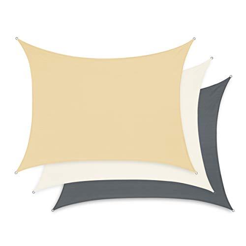 Minuma Sonnensegel  Wetterschutz  Windschutz  Sonnenschutz wasserfest aus Polyester mit wasserabweisender PU-Beschichtung und UV-Schutz  Rechteck 2 x 3 m Sand-beige