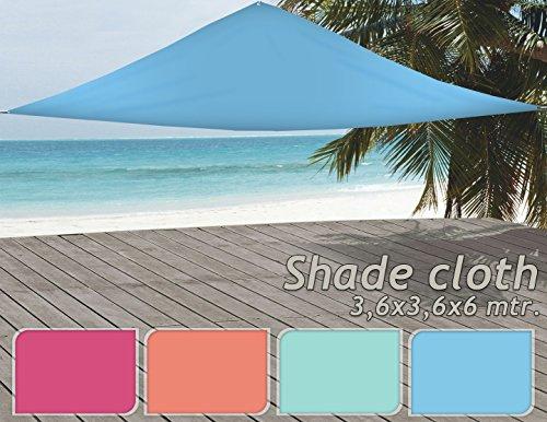 Meinposten Sonnensegel Sonnenschutz 360x360x360 cm Rosa Orange Türkis Blau Rosa
