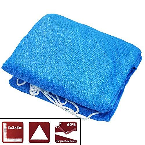 Sonnensegel Blau 3x3x3m dreieckig Sonnenschutz Dreieck Sonnen Segel Wetterfest