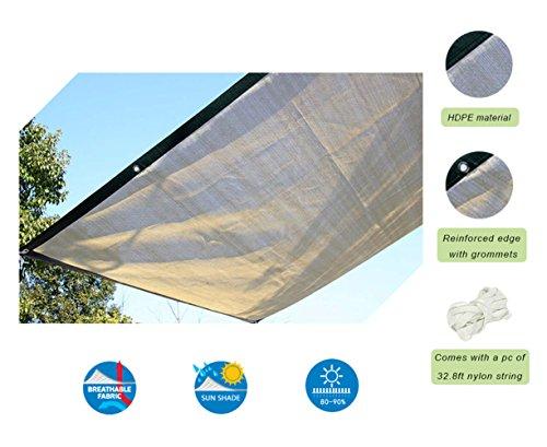 Insun Sonnensegel Rechteckig Sonnenschutz Garten UV Schutz Premium Schatten Tuch Markisen Khaki 200 x 300 cm