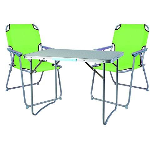 Mojawo  3tlg Campingmöbel Set Alu Camping L70xB50xH59cm 1x Campingtisch mit Tragegriff  2 Campingstühle Lime-grün Stoff Oxfort