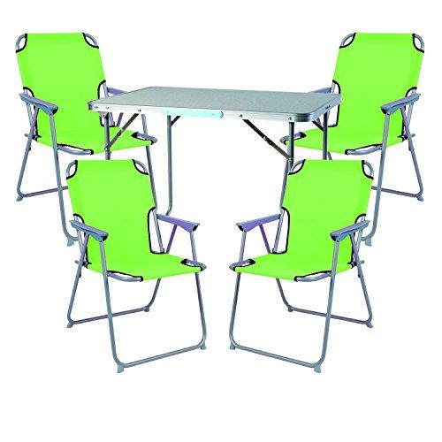 Mojawo  5tlg Campingmöbel Set Alu Camping L70xB50xH59cm 1x Campingtisch mit Tragegriff  4 Campingstühle Lime-grün Stoff Oxfort