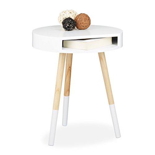Relaxdays Beistelltisch Holz mit Öffnung Wohnzimmertisch Sofatisch H x B x T ca 48 x 40 x 40 cm weiß