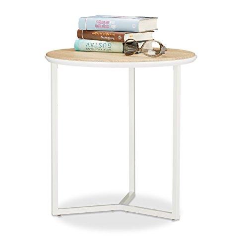 Relaxdays Beistelltisch Holz natürlicher Look Holz-Optik Eiche weißes Gestell Couchtisch HBT 48x45x45 cm natur