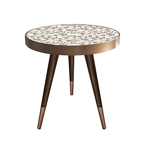 Beistelltisch Couchtisch Nachttisch Nierentisch Coffee Table Tisch Telefontisch Wohnzimmertisch Design Motiv Blumen Muster Größe 55 cm x 45 cm