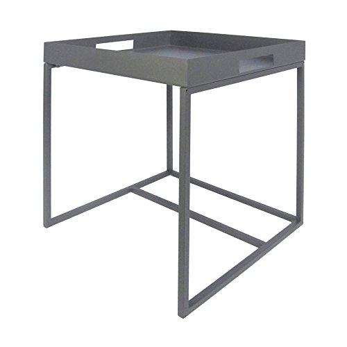Beistelltisch aus Metall Blumentisch Planzentisch Deko Modern Design Eckig Quadratisch Grau