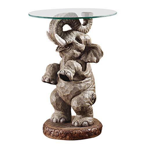 Design Toscano Glücksbringender Elefant Afrikanisches Dekor Beistelltisch mit Glasplatte 5325 cm Vollfarbe
