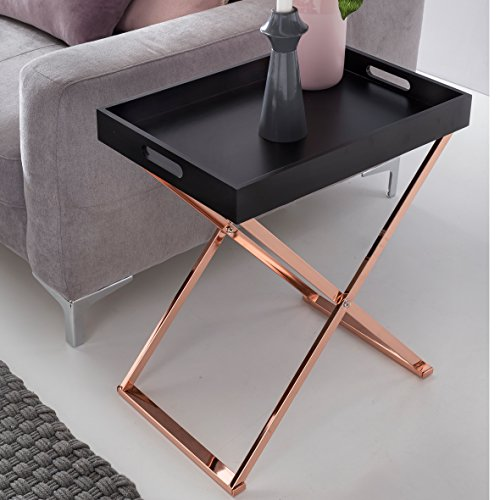 FineBuy Design Beistelltisch Serve Kupfer Schwarz mit Tablett 48 x 61 x 34 cm  Couchtisch Klappbar  Wohnzimmertisch mit Tray  Tabletttisch Holz Modern