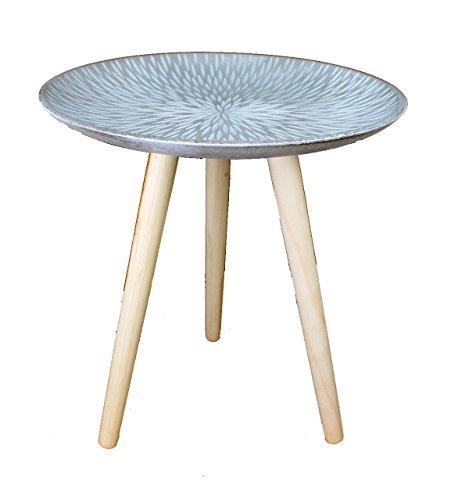 GMMH Design Retro Beistelltische 40 cm Holz Weiß Kaffeetisch Couchtisch Nachttisch Design13-10Platte Grau
