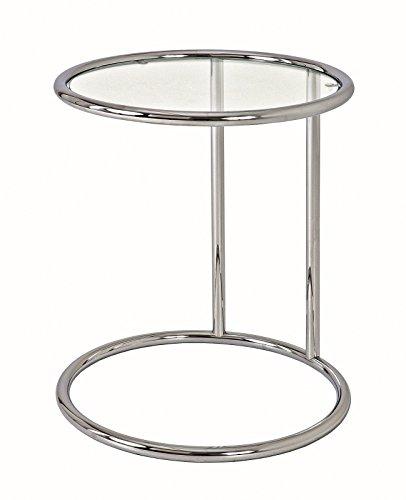 Beistelltisch Glastisch Nachttisch in chrom mit Sicherheitsklarglas Maße BTH in cm 45 x 45 x 55