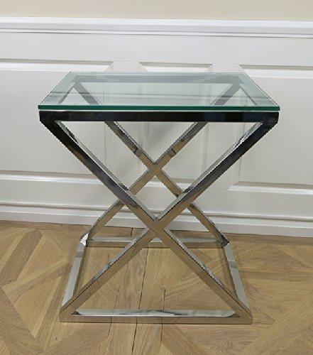 Beistelltisch Lampentisch Wohnzimmertisch Chrom Home Interiors Glastisch Tisch