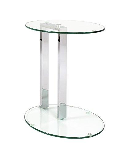 Beistelltisch bzw Nachttisch mit Sicherheitsglas und Stahl in chrom Farben Maße BTH in cm 45 x 35 x 50