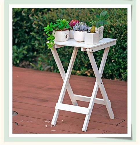 HhGold Nordic minimalistischen Holz Blume Racks Wohnzimmer Balkon Faule Klapptisch Couchtisch im Freien Kleinen Tisch Garten hängen Pliers Körbe Farbe braun Farbe  Weiß Größe  -