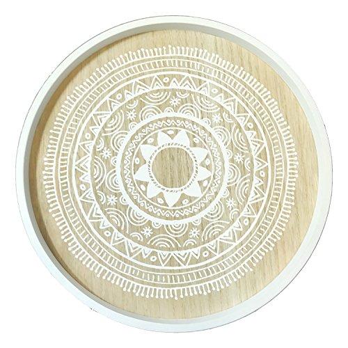Mojawo Designer Beistelltisch Couchtisch Dekotisch Weiß Rund 3-beinig Tisch Holz im Shabby Look Ø 40cm  Höhe 45cm