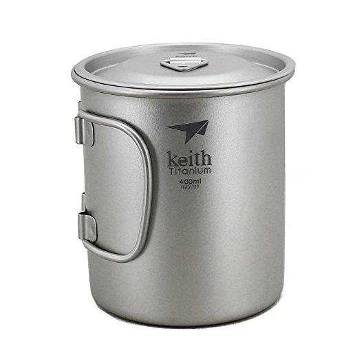 Keith Titan Becher Outdoor Mug Camping Tasse Mit Deckel Picknick Geschirr400mlTi3203