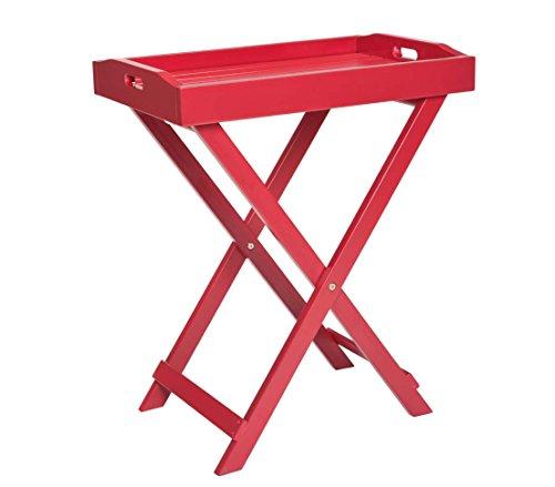 Dehner Provence Serviertablett und Beistelltisch in Einem ca 725 x 60 x 40 cm FSC Akazienholz rot
