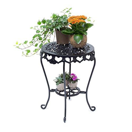 Relaxdays Blumenhocker rund Größe L aus Gusseisen HBT ca 51 x 40 x 40 cm Blumenständer mit 2 Ablagen Beistelltisch für Blumen und Dekoration in Haus und Garten Hocker für Pflanzen schwarz