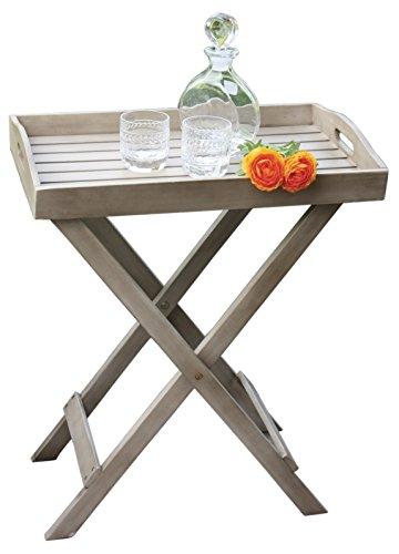 Tablett mit Ständer France washed grey Grilltisch Tisch Serviertablett Beistelltisch klappbar 60x40x70 cm