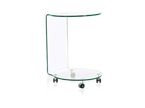 BHP BEST HOME PRODUCTS Glas-Beistelltisch mit 4 Rollen Höhe 60cm formgebogen Klarglas B154015