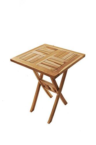 SAM Teak-Holz Massiv Beistelltisch Square 60 x 60 cm klappbar für Balkon Terrasse oder Garten