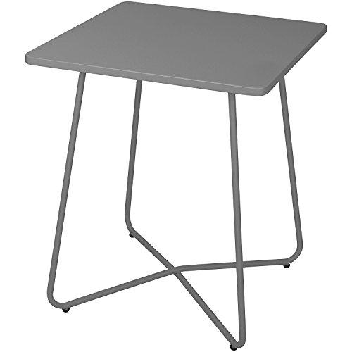 Wohaga Metalltisch 60x60cm Grau Bistrotisch Gartentisch Balkontisch Campingtisch Beistelltisch