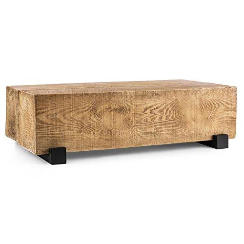 blumfeldt Blockhouse Lounge • Balkentisch • Optik Zwei massiver Holzbalkenquader • Gartentisch aus MgO-Zement • Timber-Table • Beistelltisch • 200 kg Belastbarkeit • 50 kg Gewicht • 120x30x60 cm