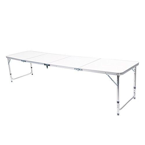 Greensen 240 cm Campingtisch Tragbar Klapptisch Faltbar Gartentisch Picknicktisch Koffertisch Biergartentisch Aluminium