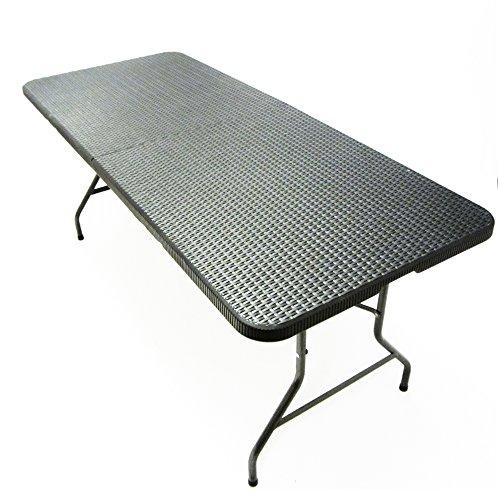 JOM Klapptisch Falttisch Gartentisch CampingtischPartytischBuffettisch Faltbarer Tisch Koffertisch 180 x 75 x 74 cm Rattan-Optik mit Tragegriff