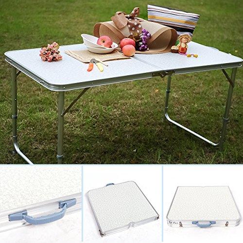 RMAN Klapptisch Campingtisch Klappbarer aus Aluminium Gartenklapptisch Höhenverstellbarer Koffertisch Praktisches Kofferformat Falttisch 20x60x70cm