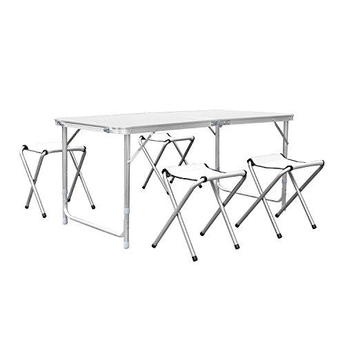 HOMFA 120cm Campingtisch Klapptisch Set mit 4 Klappstühle Aluminium Höhenverstellbarer Klapptisch Campingmöbel als Gartentisch Falttisch Reisetisch zum Camping uvm weiß 120cm