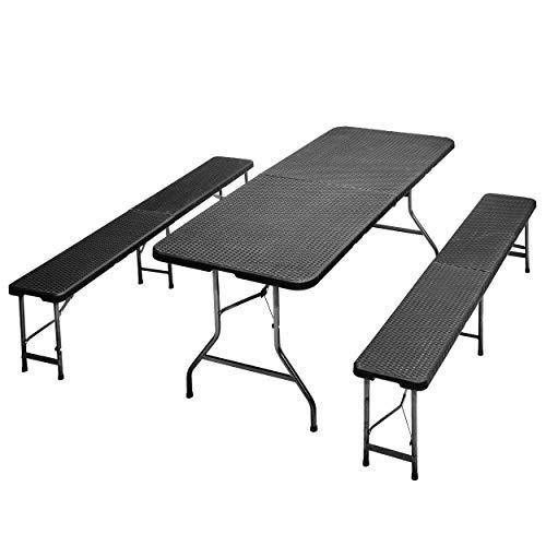 JOM Bierzeltgarnitur Frühstücks Garnitur Camping-Set Esstisch klappbar Rattan-Optik1 Tisch 2 Bänke mit Metallgestell pulverbeschichtet mit Klappfunktion und Tragegriffen
