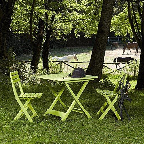 Progarden 987150 Camping-Set limegrün bestehend aus 2x Stuhl Birki 1 x Tisch Tevere komplett zusammenklappbar