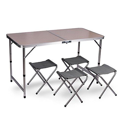 WUBOX Campingtisch Klapptisch Set - Gartentisch klappbar und 4 Campingstühle faltbar - Koffertisch mit 4 Sitzhockern für Camping Outdoor und Garten Varianteohne Schirmloch