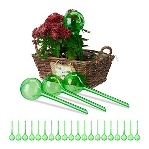 Relaxdays 24 x Bewässerungskugeln Dosierte Bewässerung 2 Wochen Versenkbar Topfpflanzen Kunststoff Bewässerungshilfe grün